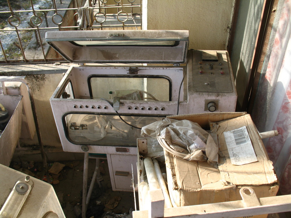 A typical medical equipment junkyard outside a hospital in Kathmandu, Nepal.
