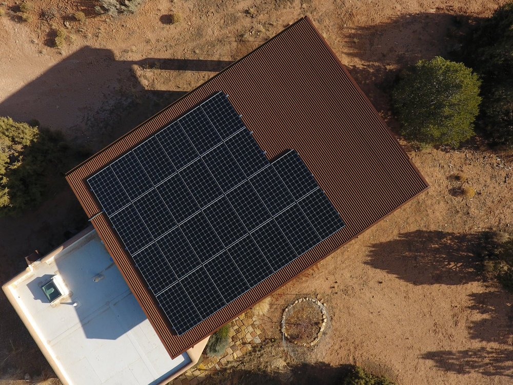 Aerial view of rooftop solar system near Durango