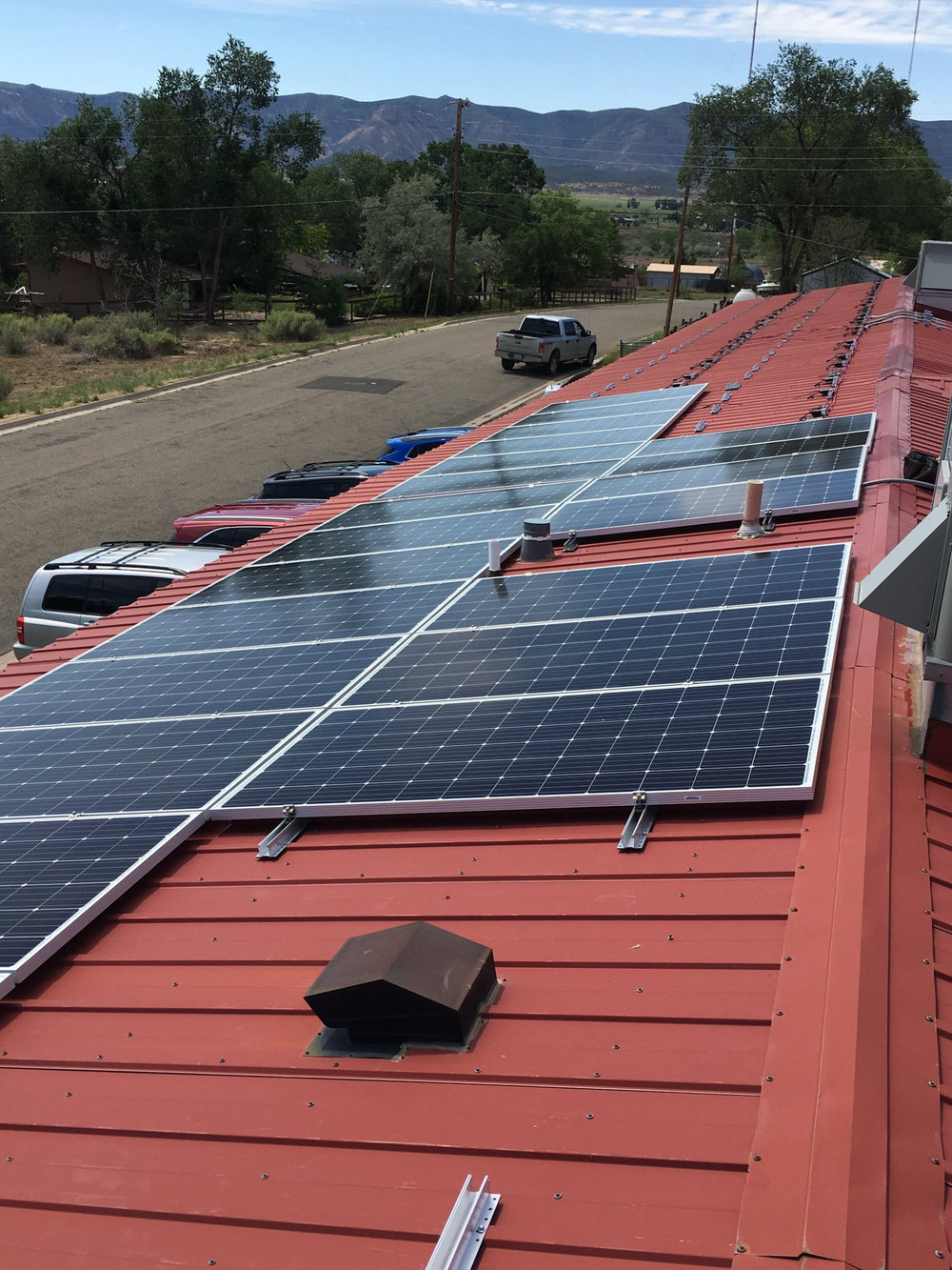 Commercial solar sytem on an office building near Durango