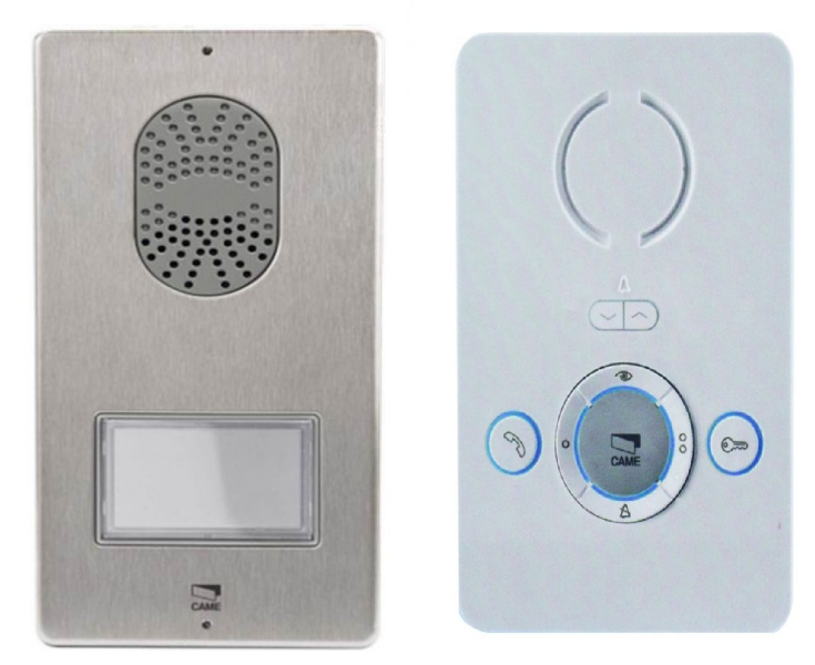 KIT AUDIO    Caractéristiques :   - Moniteur Audio BIANCA mains libres, couleur blanc glace  - Plaque de rue audio PLACO  - Convertisseur 24V AC/18V DC  - Bouton d'appel double hauteur     Avantages :   - Protection IP54 qui protège la plaque de rue contre la pluie et les chocs  - Intercommunication de série  - 1 Contact sec, directement relié à l'automatisme de commande CAME     Prix : 117€ TTC (TVA à 20%) (Livraison Offerte)