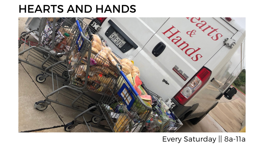 Hearts and Hands - If you would like to do something insanely practical to meet the needs of some of the least of these, contact Corina Walker (210-371-7435). Each Saturday (8am-11am) she needs drivers to collect donated food from local Kroger stores. Jump in and help out!