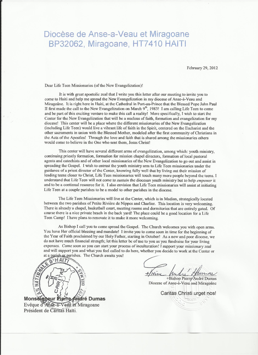 Msgr. Dumas's invitation to Haiti!