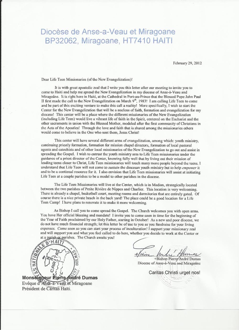 Msgr. Dumas's invitation to Haiti!