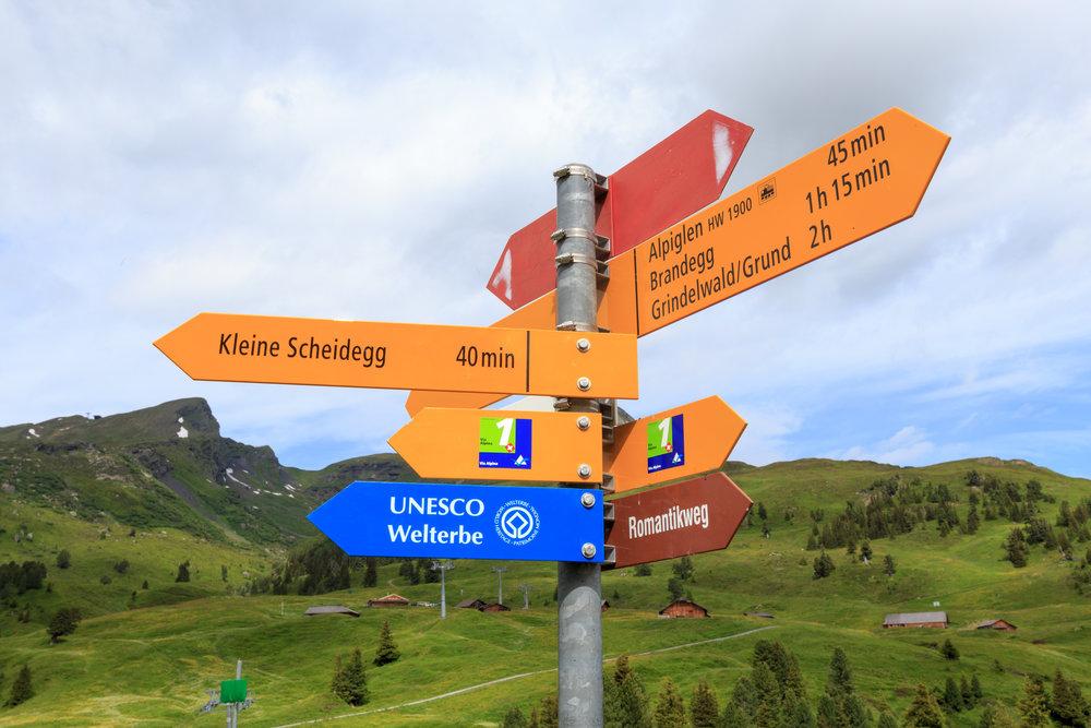 Trail Signs. (40 mins to Kleine Scheidegg)