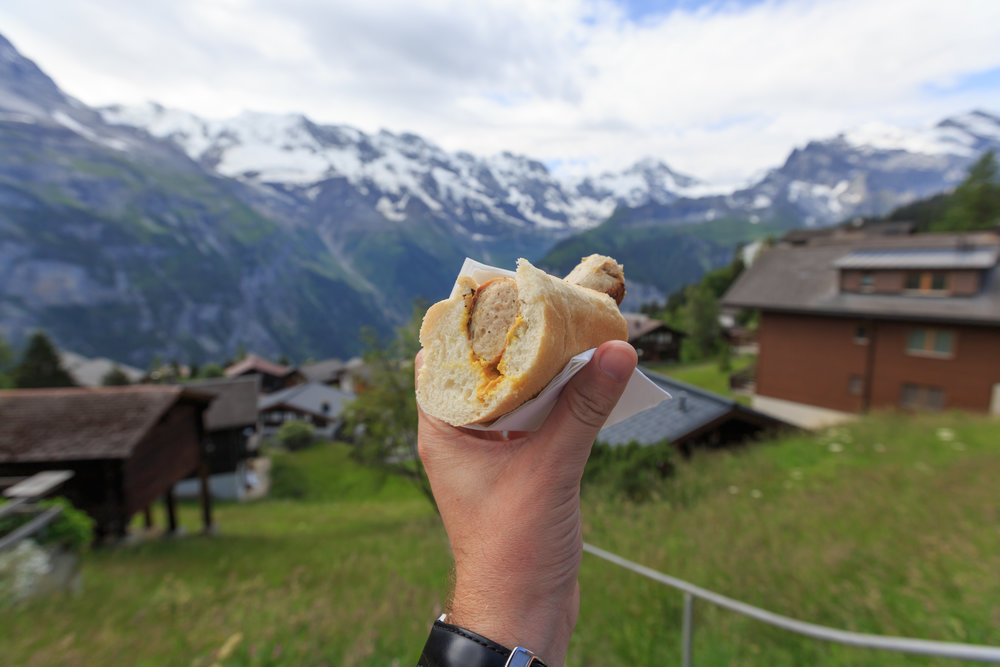 Bratwurst with Yellow Mustard on a Roll