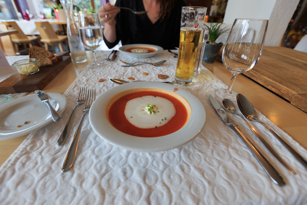 Tomato Soup with Fresh Cream and Chives