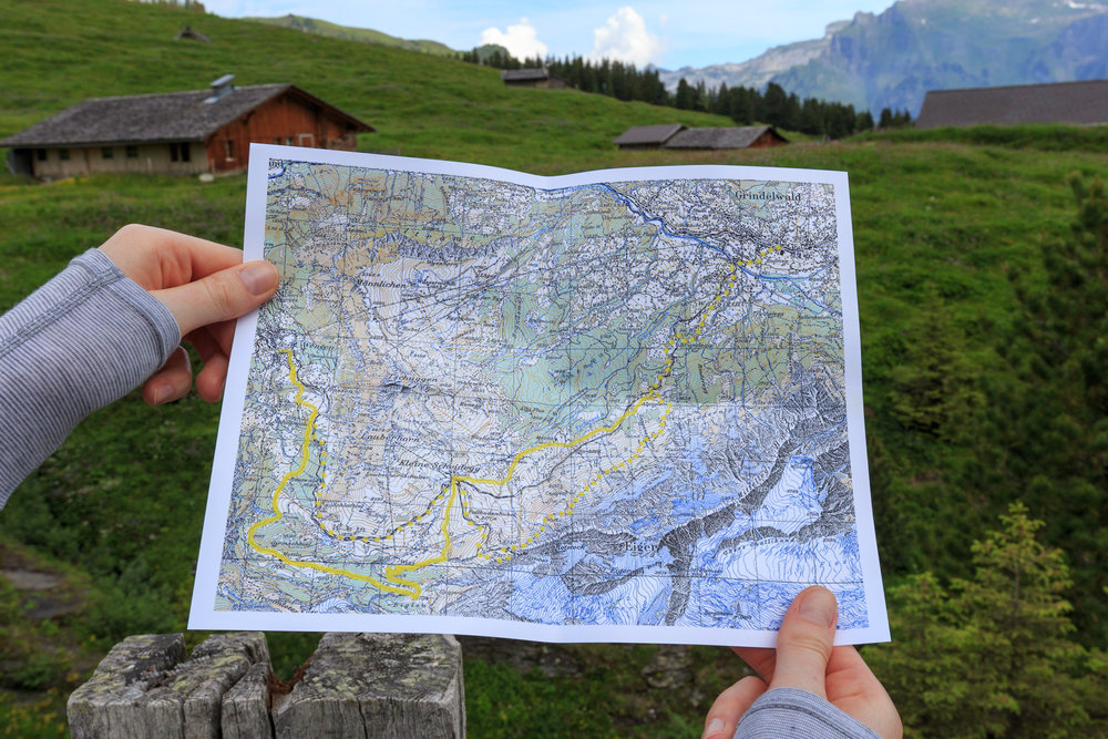 Topography Map (courtesy of Alpinehikers) to reference out on the trail