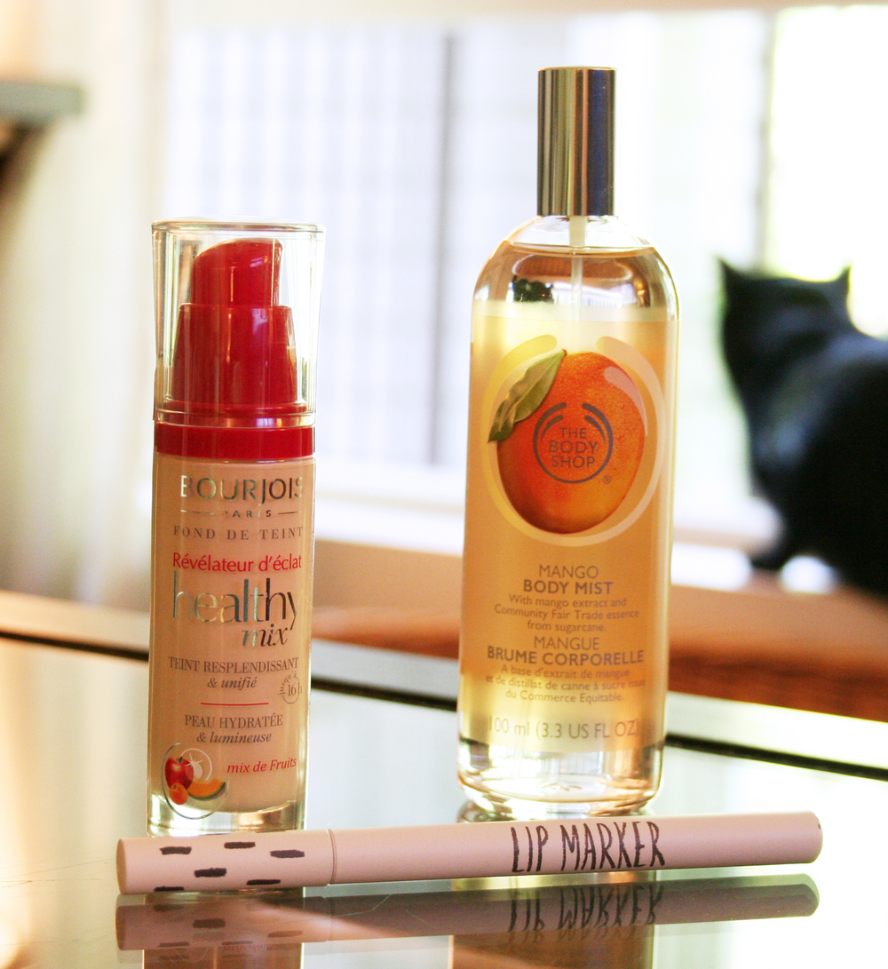 Bourjois Healthy Mix Foundation #51, The Body Shop Mango Body Mist and Topshops Lip Marker in Berry **special appearance by Jack :) **