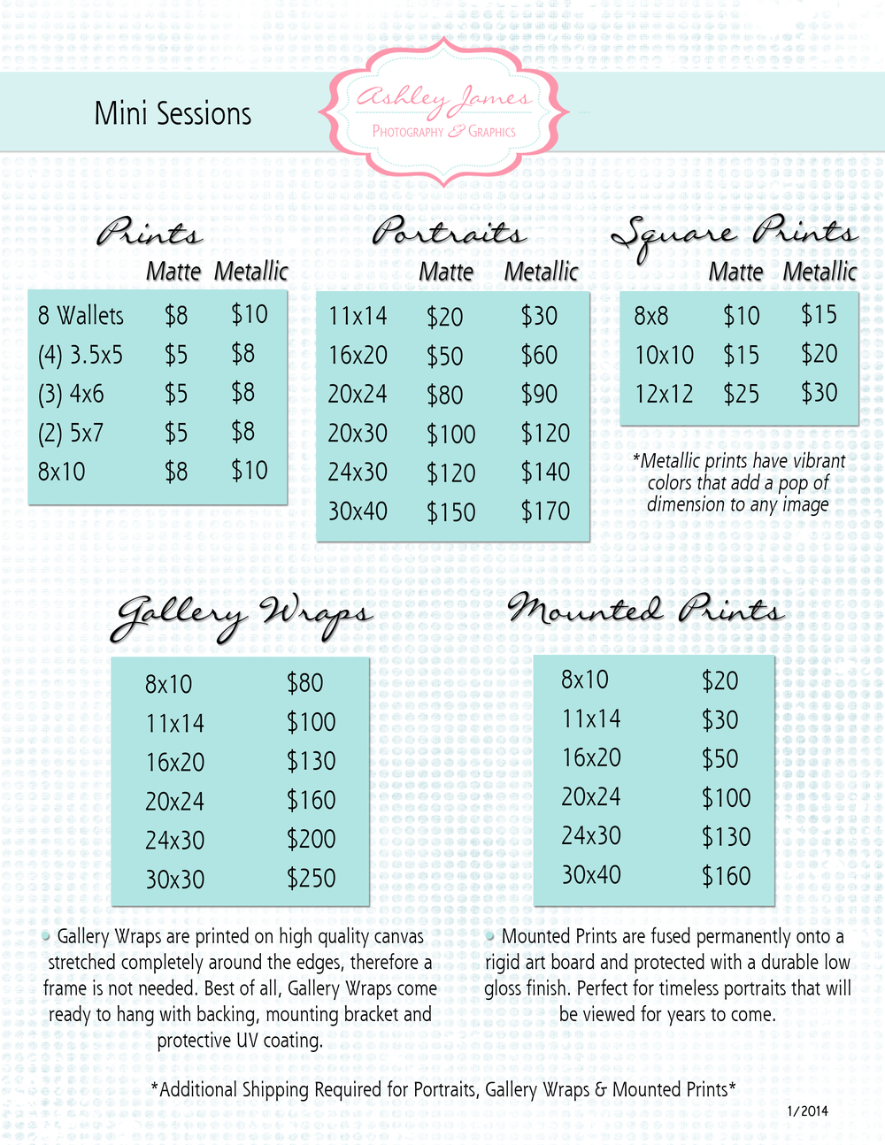 pricing information ashley james photography graphics