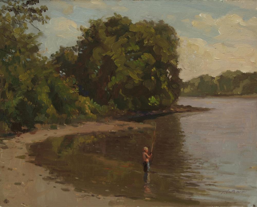 Boy Fishing, Oil on board, 8x10 inches.