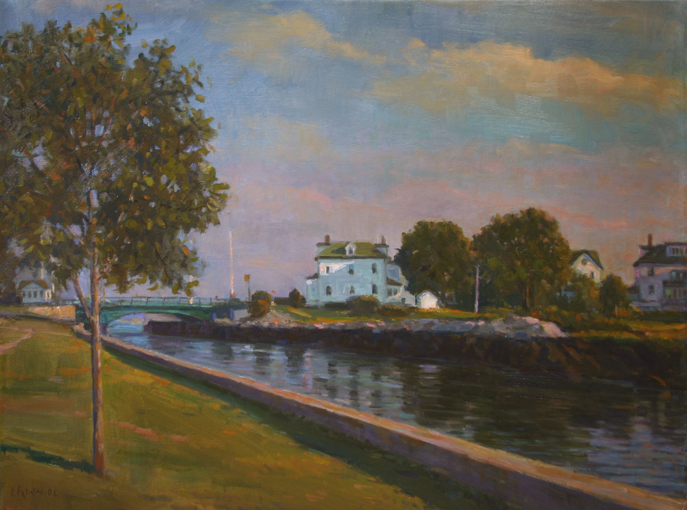 Drawbridge, Oil on canvas, 24x30 inches.
