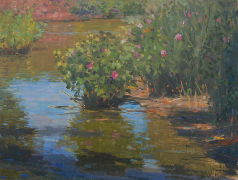 Pond Wild Flowers, Oil on board, 12x16 inches.