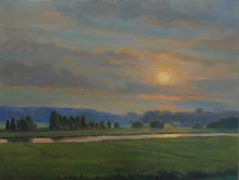 Warm Marsh Sunset, Oil on canvas, 20x24 inches. [sold]