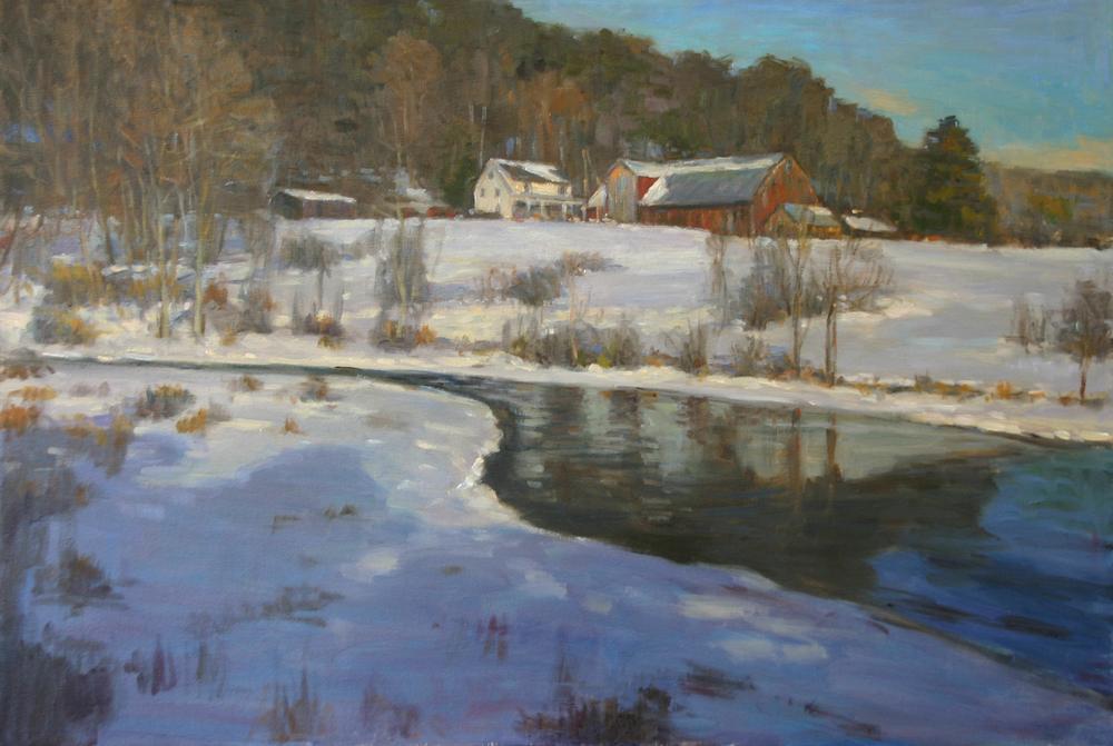 Winter Farm Scene, Oil on canvas, 24x36 inches.