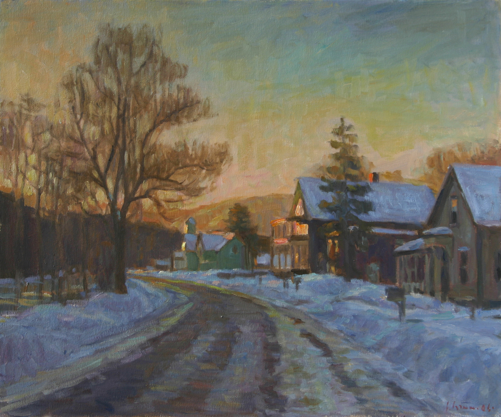 Snow on Main Street, Oil on canvas. 20x24 inches. [sold]