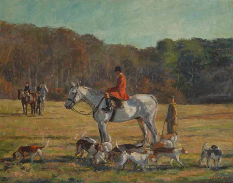 October Hunt, Oil on canvas, 22x28 inches.