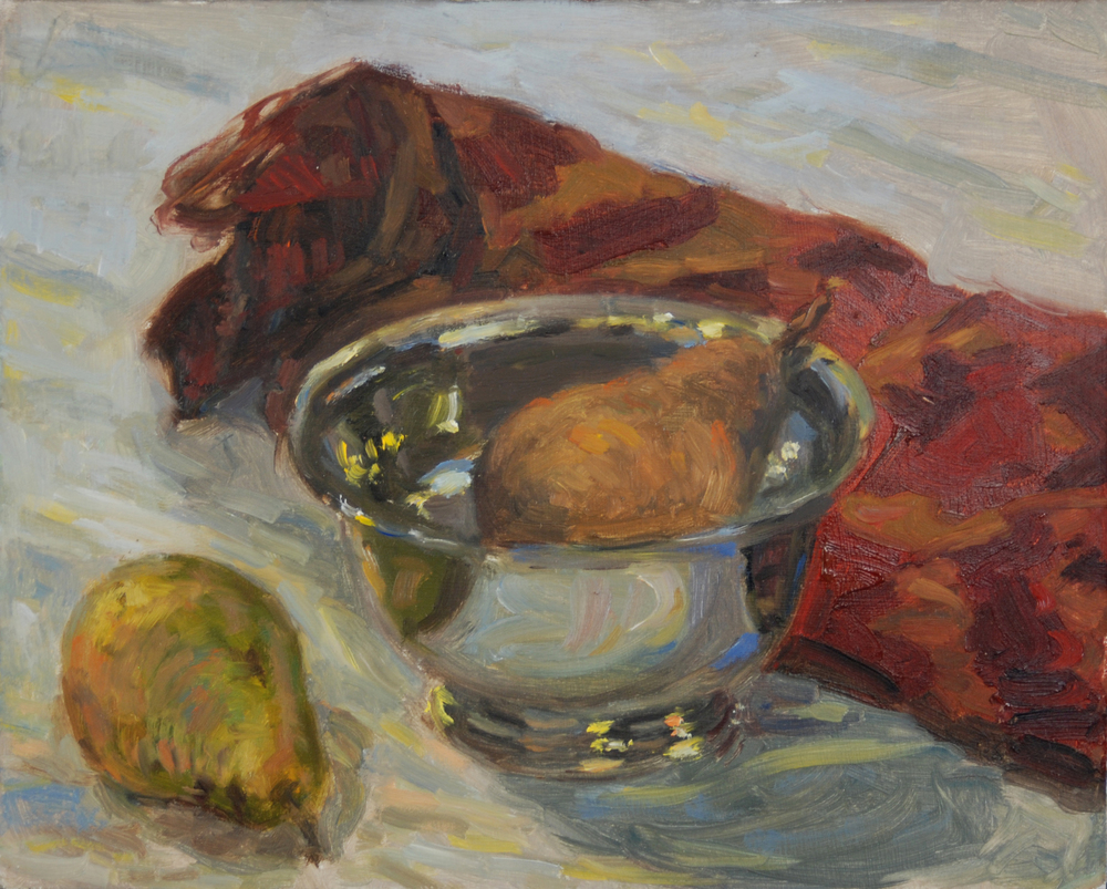Pears in Silver Tin, Oil on board, 11x14 inches.