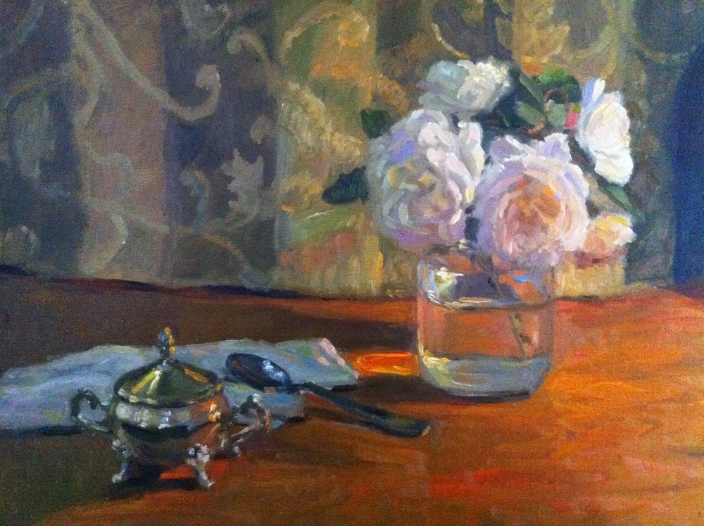 Roses and Silver Oil on linen, 20x16 inches.