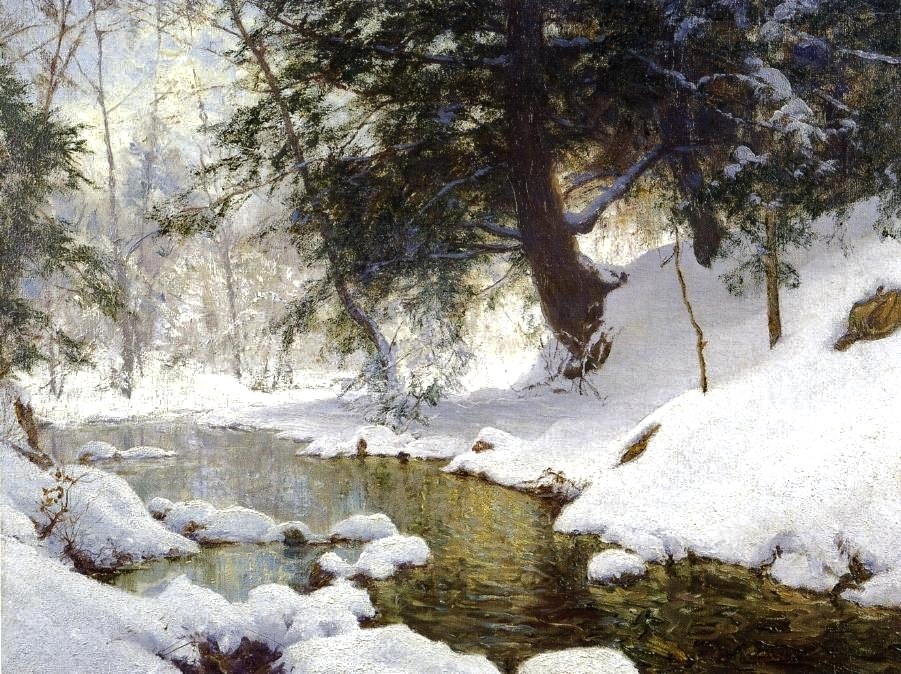 Walter Launt Palmer _ November Snow 1903.( 1854 – 1932, Albany, New York) was prominent sculpture and  American Impressionist   painter. Palmer's father   Erastus Dow Palmer   was a prominent sculptor, and their Palmer residence was frequented by his father's friends, notably landscape painter   Frederick E. Church  .  [1]   Church trained Palmer in landscape painting. Palmer's most notable works are winter landscape scenes, a tradition he carried throughout his career.