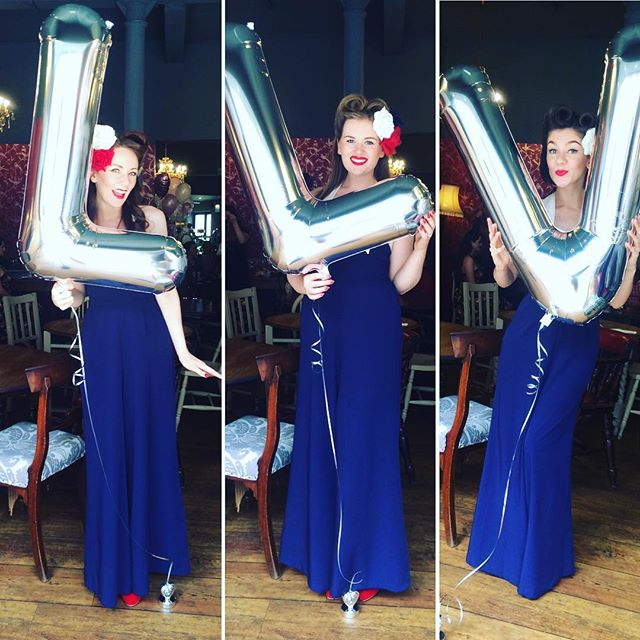 What a fabulous day at the @lucy_loves_violet launch party in Altrincham! 👗 Lots of tea, cake & gorgeous vintage goodies to be had & it just wouldn't be a launch party with out some special Lucy Loves Violet balloons! 🎈 --- #theglamophones #vintage #retro #girlgroup #trio #singers #giglife #balloons #jumpsuit #victoryrolls #redhead #blonde #brunette #llv #lucylovesviolet #vintageshop #lindyboploves