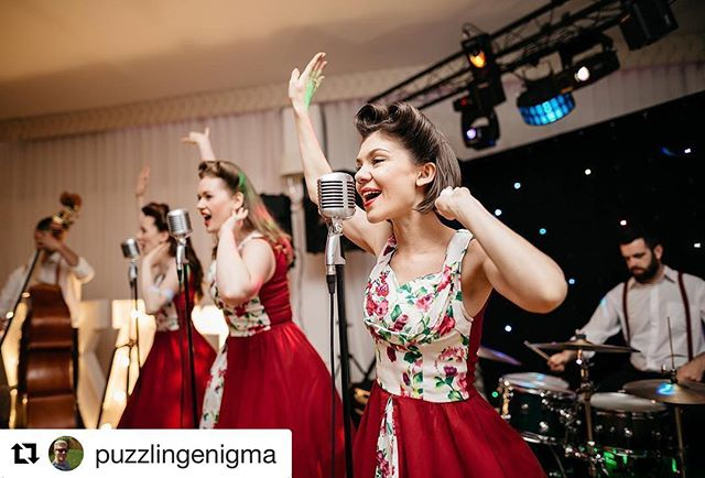 What a great photo of us and our band performing at Chris and Greg's amazing wedding last month!  Photo from @pgracephoto 📷 More wedding band loveliness this weekend ❤️ . . . #theglamophones #vintage #retro #trio #liveband #weddingband #chrisgreg17 #repost #actionshot