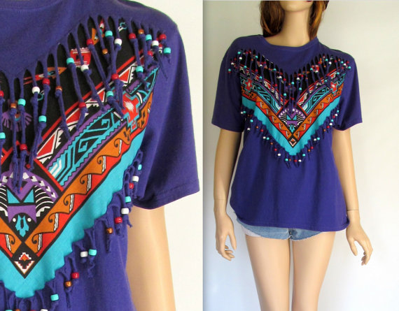 This beaded 90s fringe top reminds me of the Jersey Shore and corn rows in our hair in middle school! This Etsy Shop  Beatnik's Vintag e in Arizona has some awesome stuff!