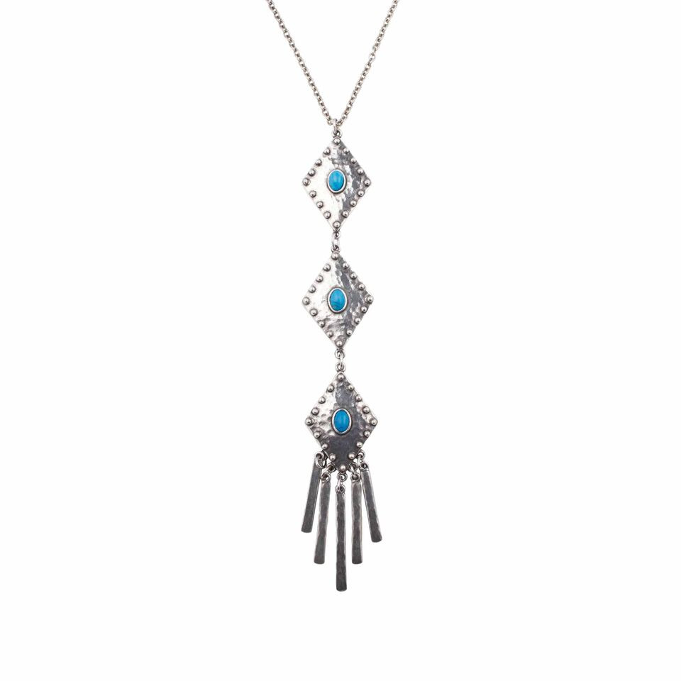 Highway Necklace $88, Silver-plated and turquoise. Made in the USA.