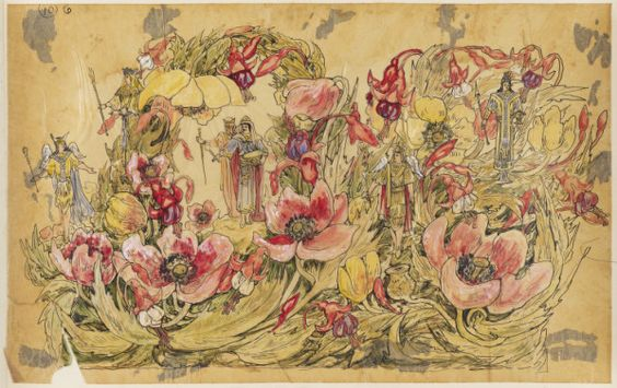 The Garden. Costume design from Mistic Krewe of Comus' 1873 'Missing Links' parade. by Charles Briton. New Orleans.