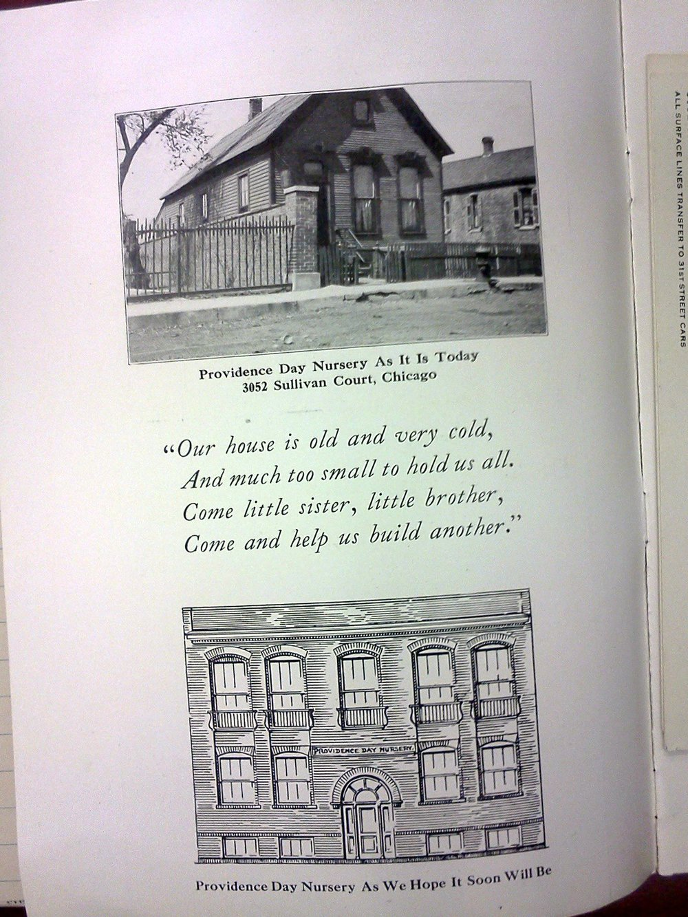A Photograph of the Old Providence Day Nursery followed by a drawing of what became the Benton House