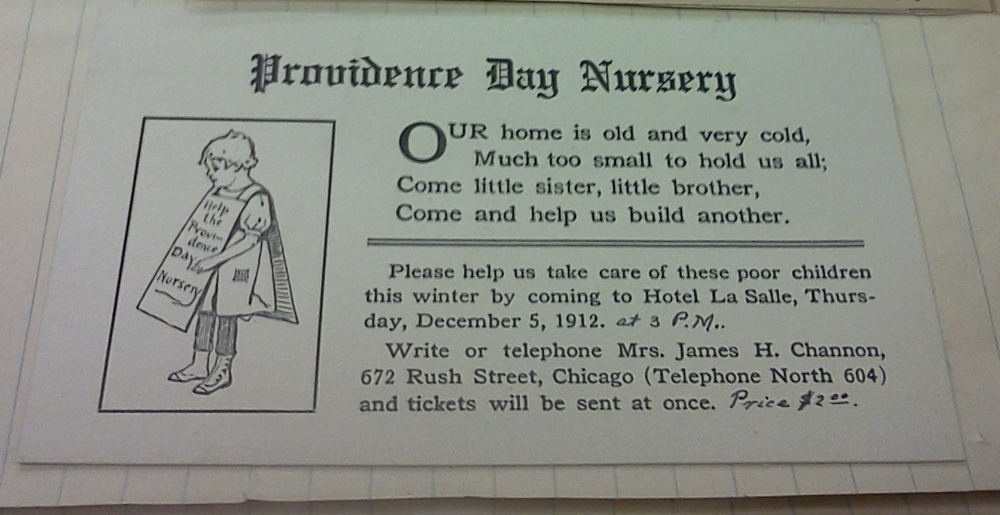 A Providence Day Nursery card asking for donations