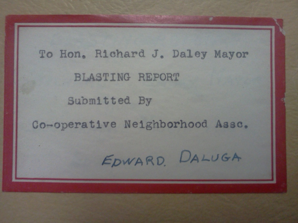 This is a booklet put together in 1955. It includes letters of complaint written to Richard J. Daley by residents of Bridgeport. They are complaints about the rock quarry (which is now Palmisano Park).