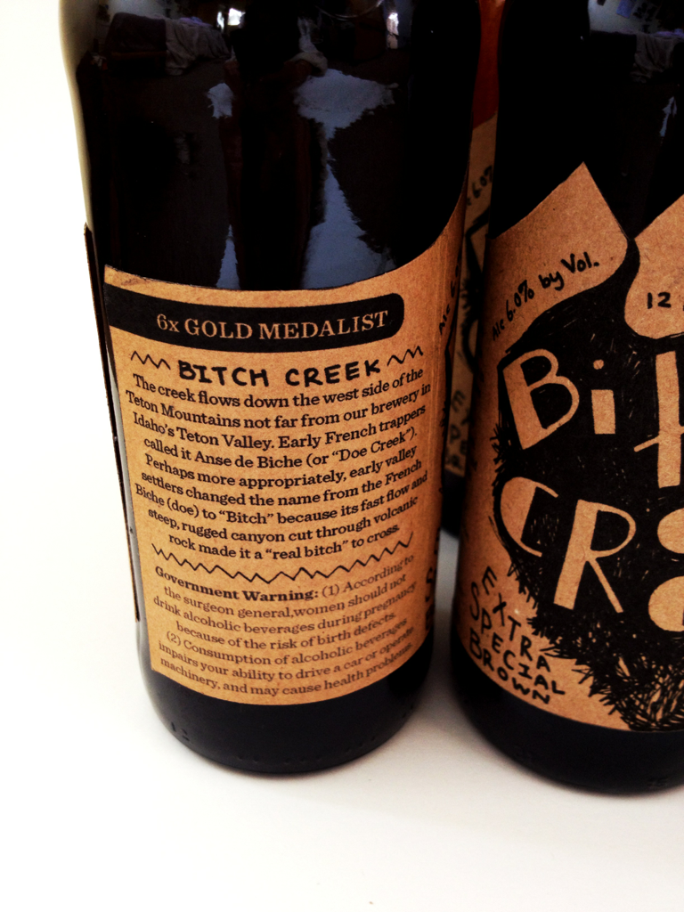 Left side of label with the clever little blurb about the bitchiness of 'Bitch Creek' found on the old six pack carrier.
