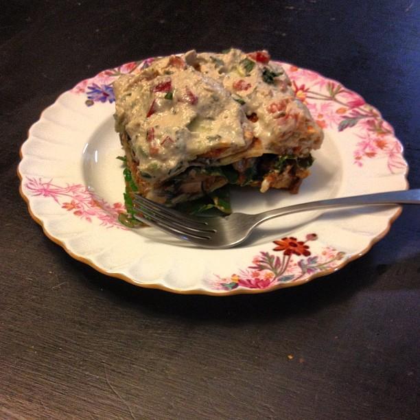 Raw, vegan lasagna (chard, portobello mushrooms, zucchini, tomato sauce & cashew filling) nom.  (Taken with  Instagram )
