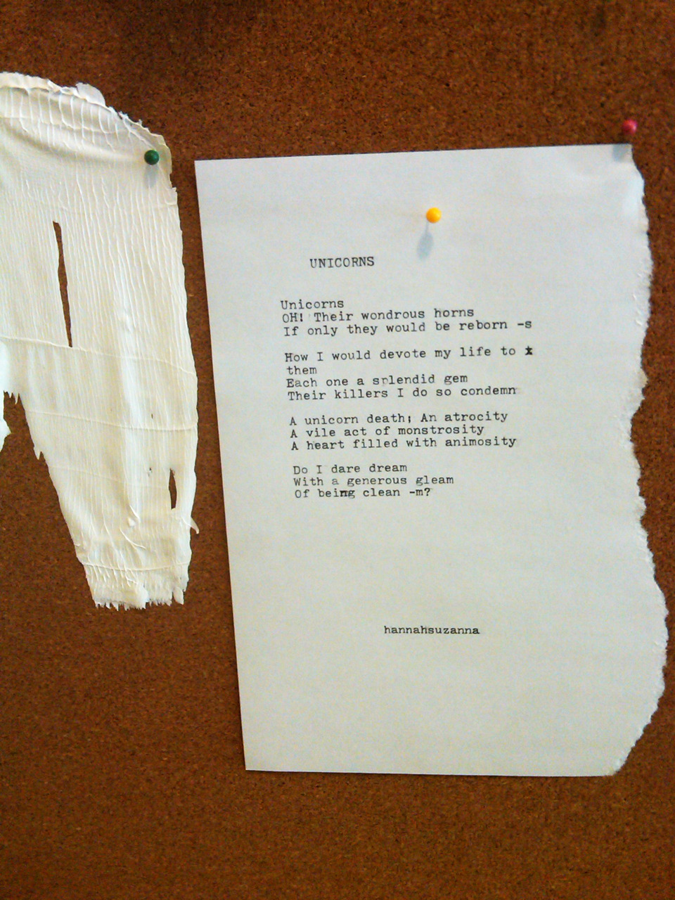 Poem for Claire, written on typewriter. Yesss.