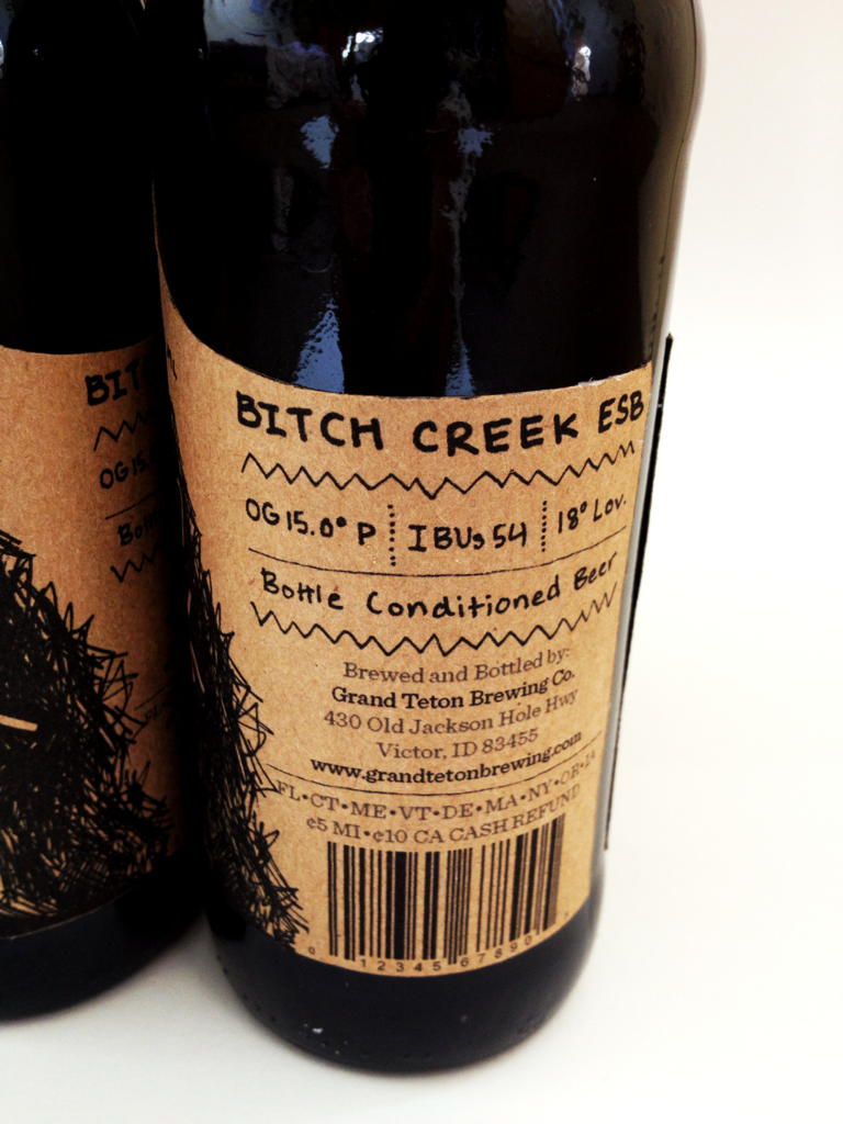 Right side of label.