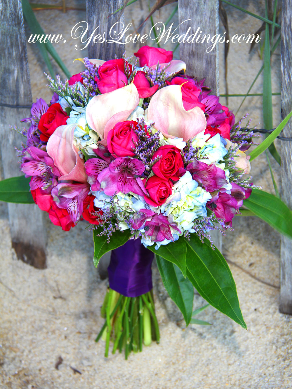 Beach wedding purple bride's bouquet