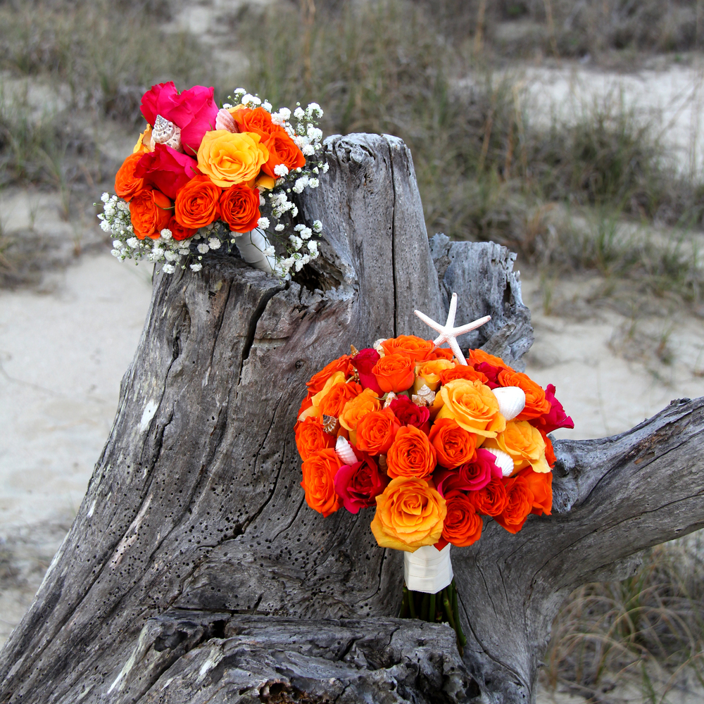 Beach Wedding flowers bride's bouquet in sunset colors orange yellow pink