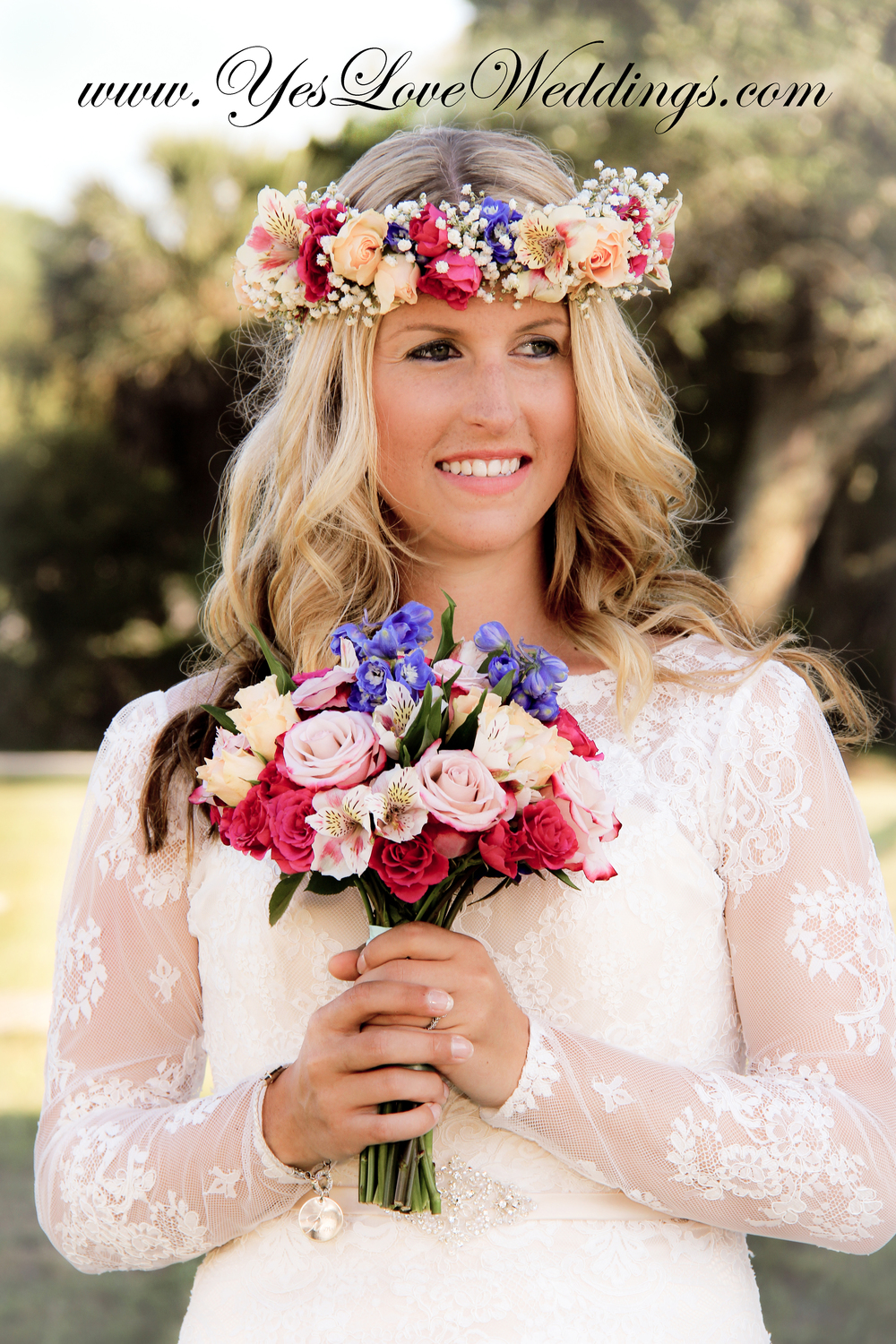 Beach Wedding Bride with floral crown and bouquet Tybee Island Hilton Head Savannah