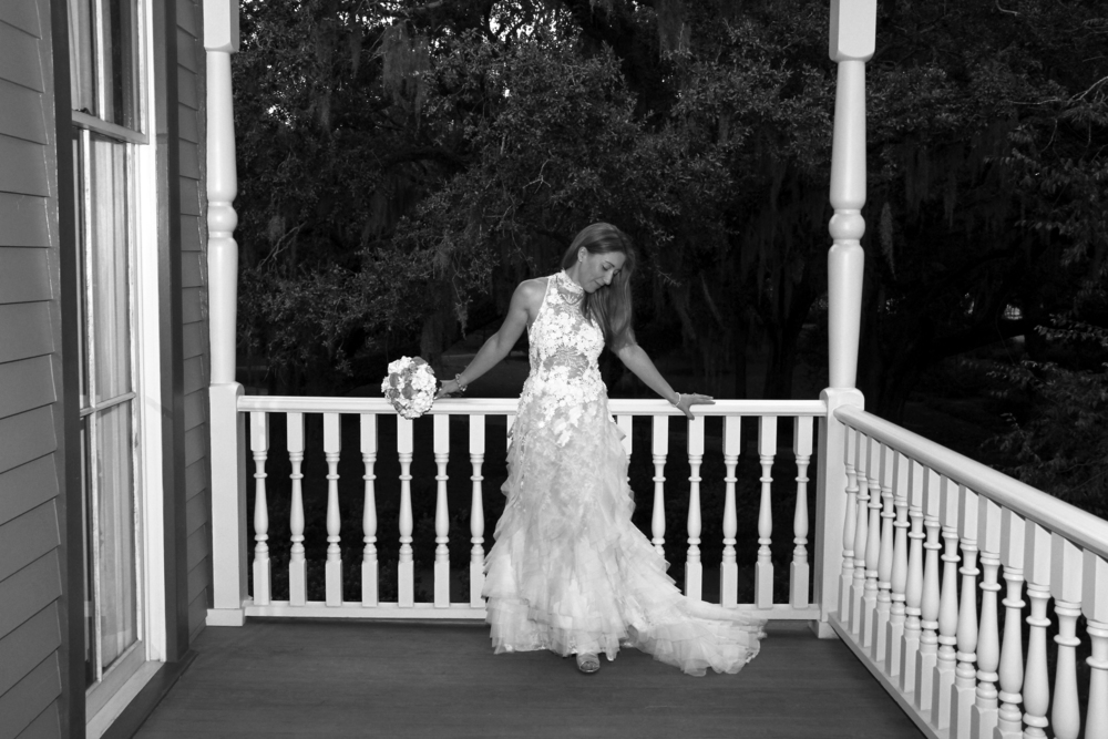 Savannah Georgia Wedding historic district wedding bride on the veranda