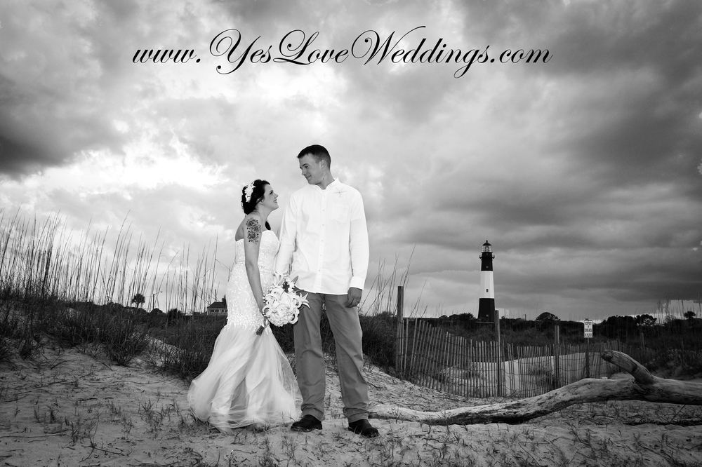 Beach Wedding, Wedding photography in Black and White Tybee Island GA
