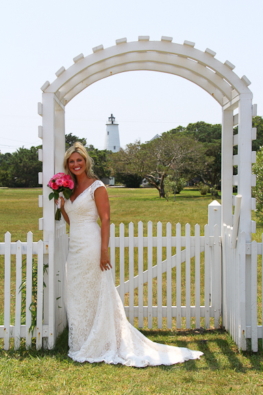 Lighthouse wedding beach bride