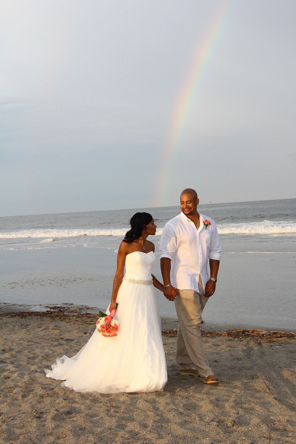 Tybee Island Wedding with rainbow on the beach