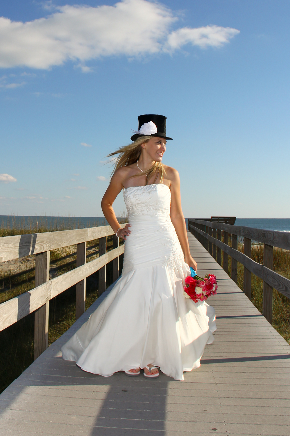 Outer Banks, NC Beach Wedding Ocracoke Island Bride in Top Hat