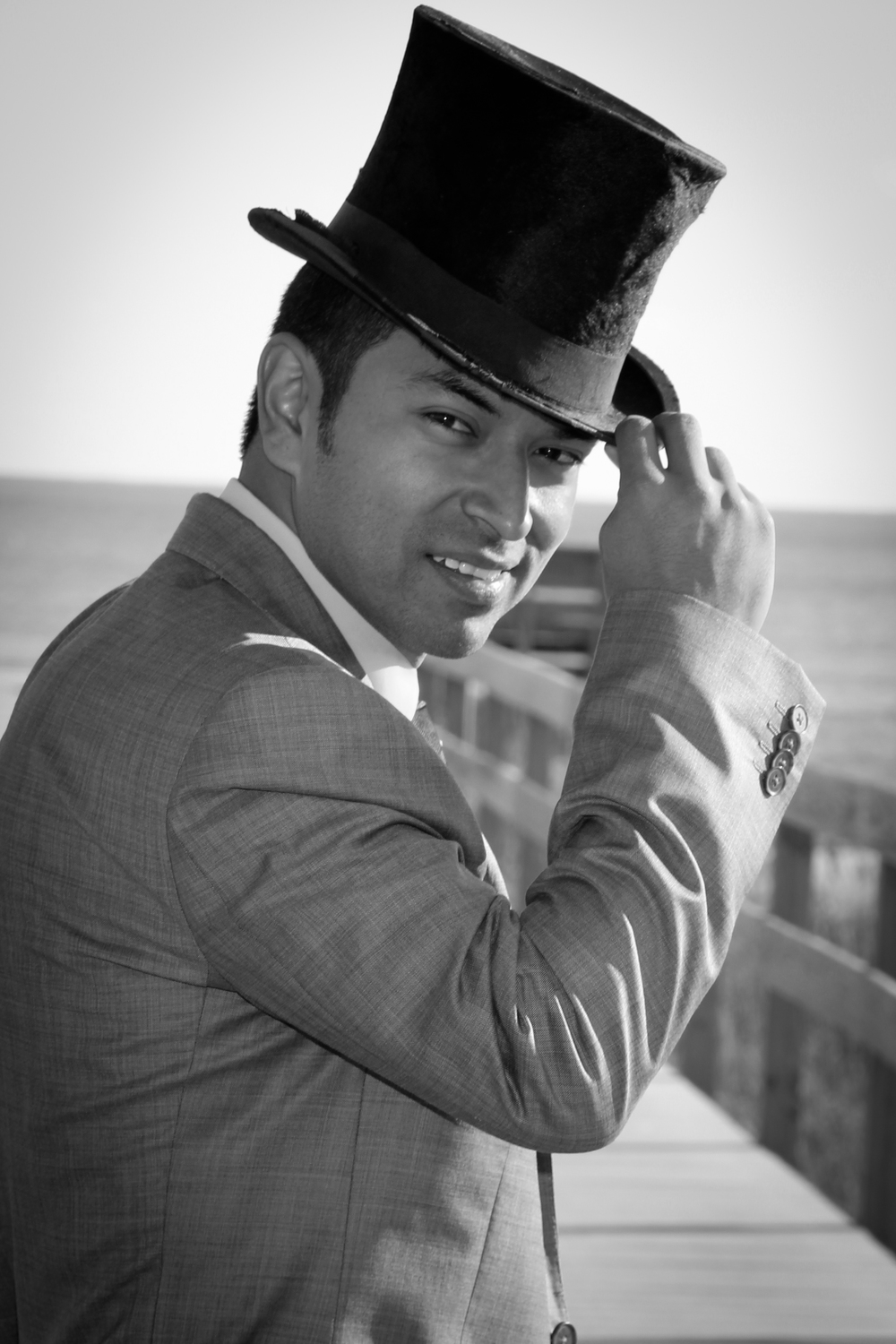 Outer Banks, NC Beach Wedding Ocracoke Island groom in top hat