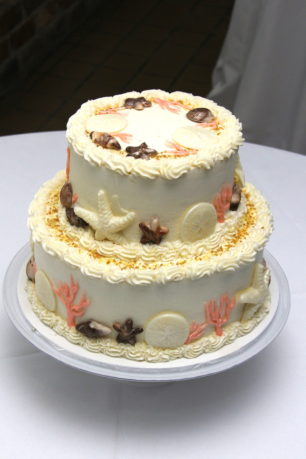 Tybee Island Wedding Beach Wedding Cake with chocolate Seashells