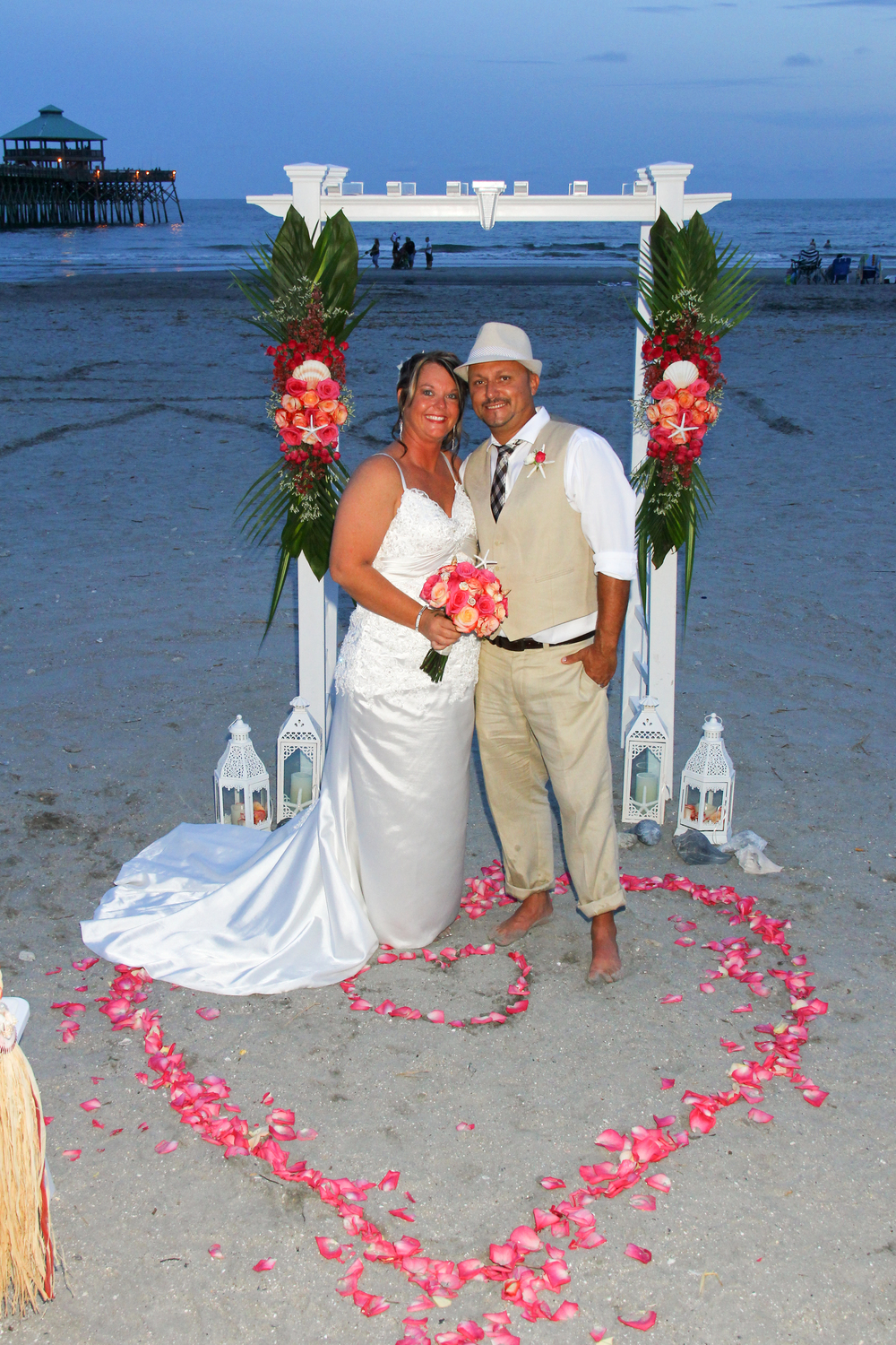 Beach Wedding Folly Beach Charleston SC The Tides Arch with flowers
