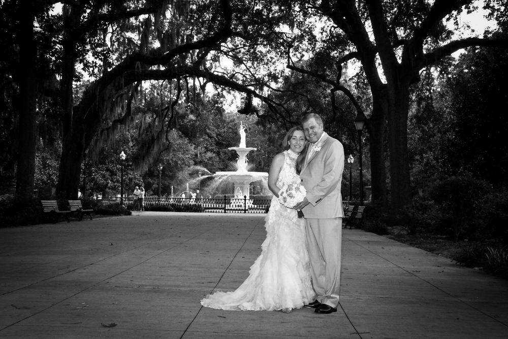 Savannah Wedding Forsyth Park B&W wedding photography