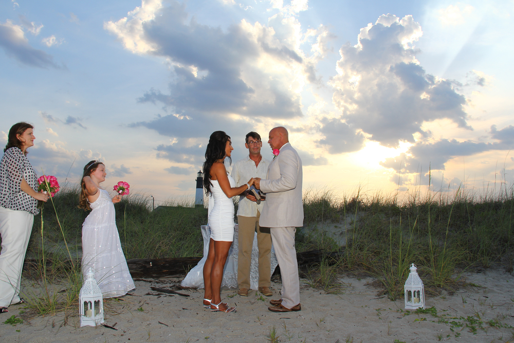Tybee Island Georgia BeachWedding elopement sunset lighthouse Yes Love Weddings