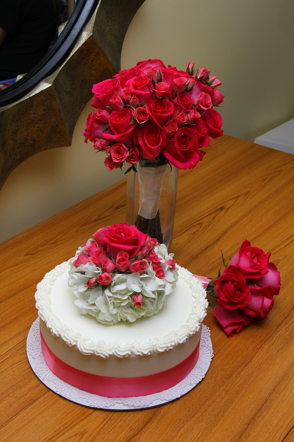Beach Wedding Elopement cake with hot pink roses Tybee Island Wedding