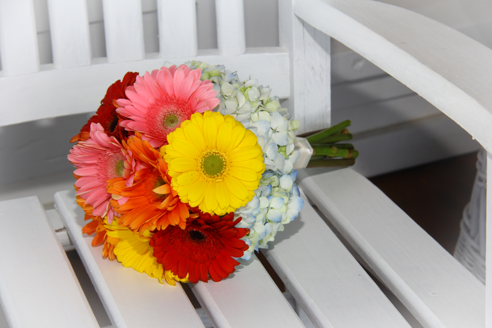 Bright Gerber Daisy brides bouquet for a beach wedding on Tybee Island Georgia